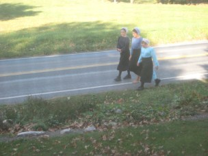 Amish Girls Walking