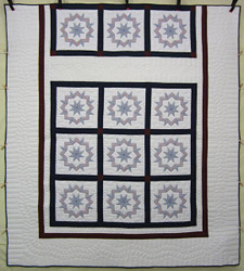 Red White Blue Embroidered Amish Quilt 97x107