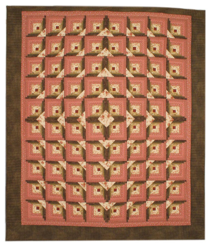 Light in Window Log Cabin Amish Patchwork Queen King Quilt 101x117