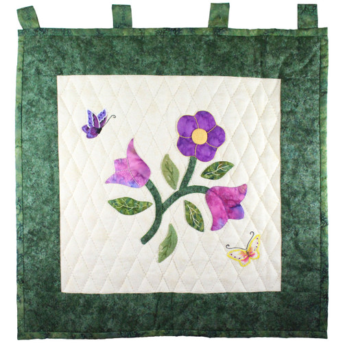 Spring Time Appliqué Flowers and Butterfly Amish Wall Hanging