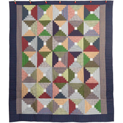 Homespun Gingham Log Cabin Patchwork Amish Quilt  95x108
