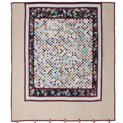 Colorful Postage Stamp Amish Patchwork Quilt 99x110