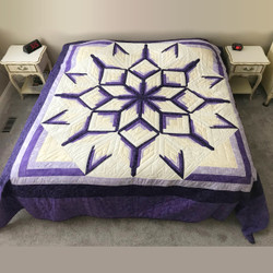 Royal Purple Starburst Amish Patchwork Quilt 108x110