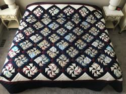 Dutchmans Puzzle Patchwork Large Amish Quilt 110x118