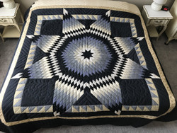 Lone Star Sawtooth Border Amish Quilt Blue 100x110