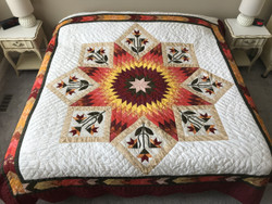 Framed Improved Lone Star Amish Quilt 97x109