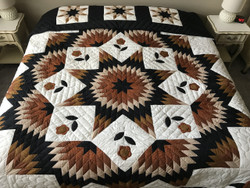 Improved Broken Star Flower Patchwork Amish Quilt 105x116