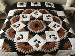 Improved Broken Star Flower Patchwork Amish Quilt 105x116