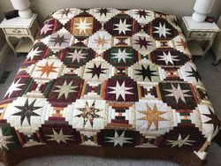 Stars Over Log Cabin Patchwork Amish Quilt 102x113