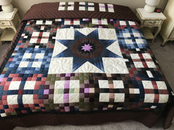 Lone Star in Patchwork Large Amish Quilt 109x114