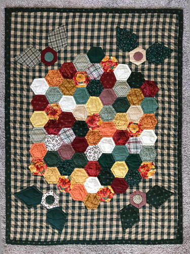 Grandma Flower Garden Hand Quilted Quilt Wall Hanging 27x36