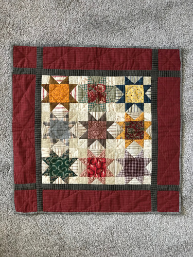 Ohio Star Hand Quilted Quilt Wall Hanging 22x22
