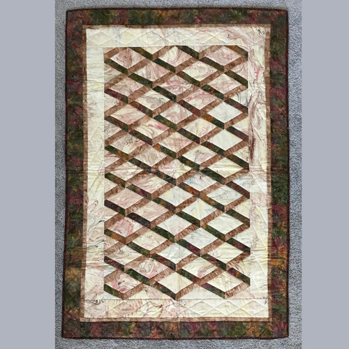 Batik Attic Window Hand Quilted Quilt Wall Hanging 35x51
