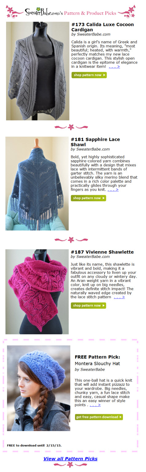 sample of Pattern Picks email