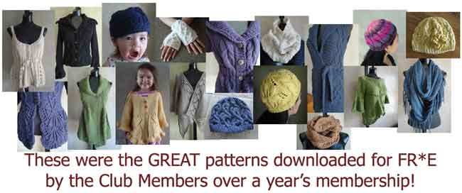 1 year's worth of Knitting Club patterns