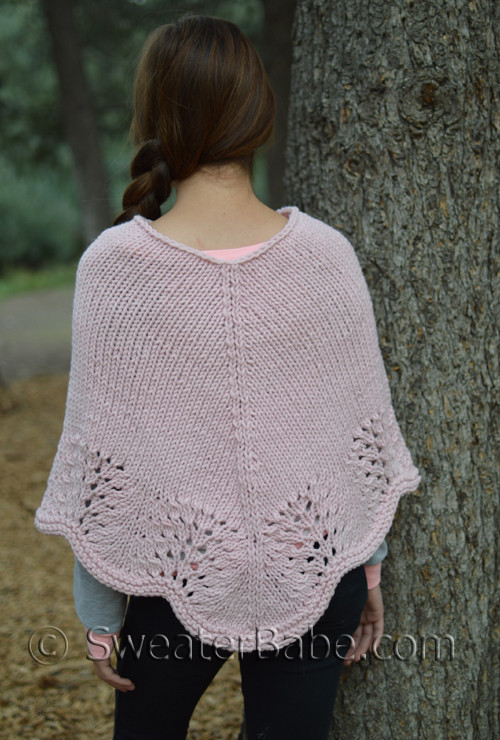 Knit Lace Border Poncho Knitting Pattern For Intermediate Knitters