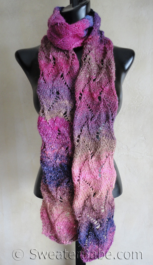 Curvy Scroll Lace Scarf Knitting Pattern In Noro Silk Garden From