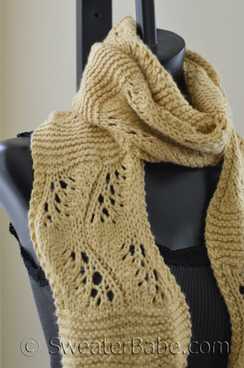 Sinuously Curved Lace Scarf Knitting Pattern In Debbie Bliss