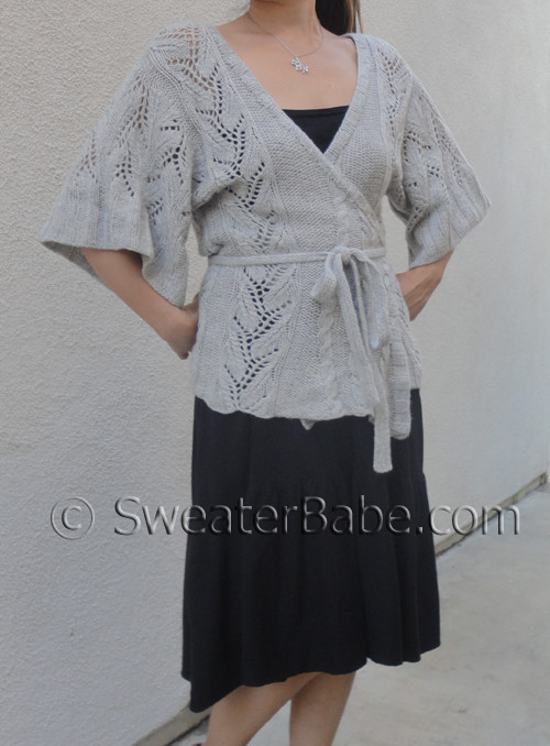 Cables And Lace Kimono Wrap Cardigan Knitting Pattern From