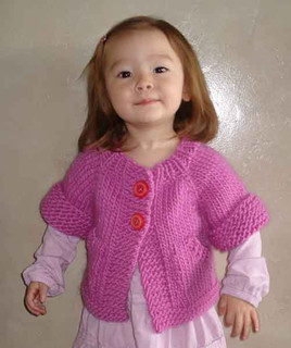 knitting pattern photo of #72 Child's Top-Down Short-Sleeved Cardigan