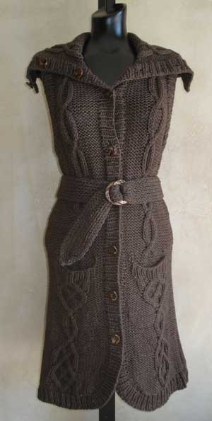 Cabled Vest Sleeveless Cardigan Knitting Pattern In Classic Elite