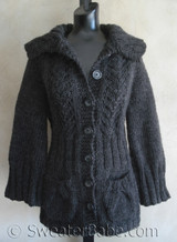 knitting pattern photo of #77 Vine Lace Top Down Cardigan Knitting Pattern