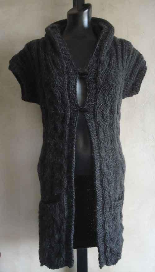 Womens Hooded Vest Pdf Knitting Pattern In Lambs Pride Bulky Yarn
