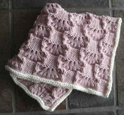 knitting pattern photo of #93 Wavy Lace Squares Baby Blanket PDF Knitting Pattern