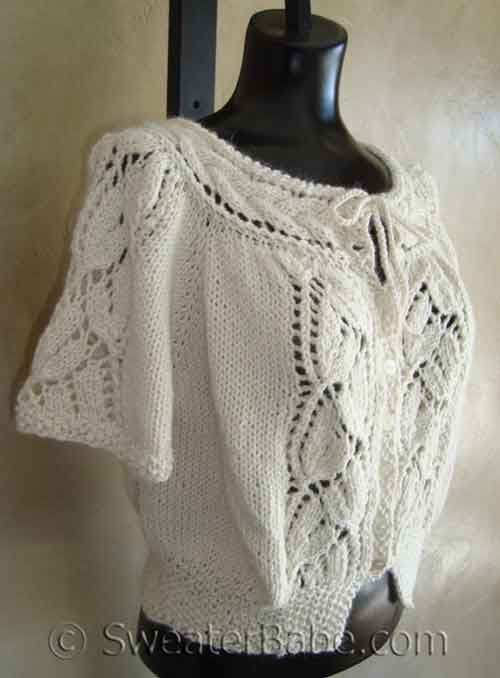 Gorgeous Lace Bloused Cardigan With Flutter Sleeves Pdf Knitting