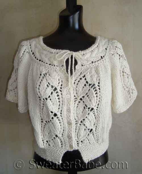 #99 Flutter-Sleeved Blousy Lace Cardigan PDF Knitting Pattern