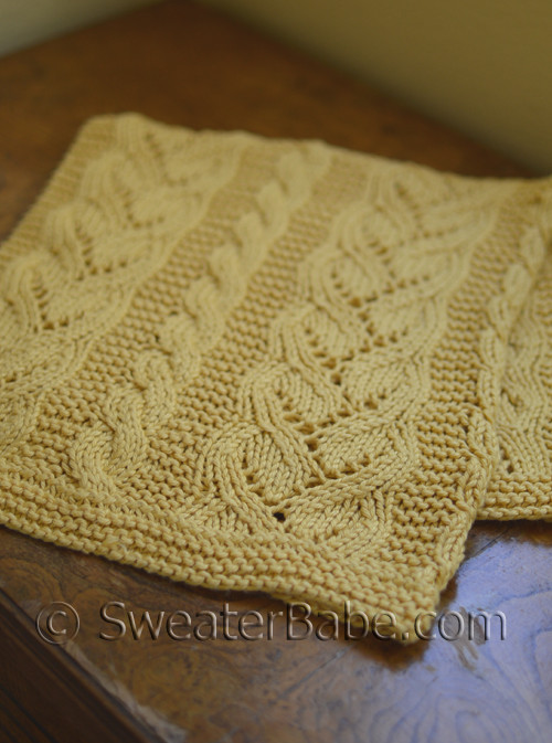 Fancy Cables and Lace Cotton Baby Blanket PDF Knitting Pattern from ...