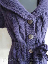 detail photo of #118 Fitted Cabled Shawl-Collared Vest PDF Knitting Pattern