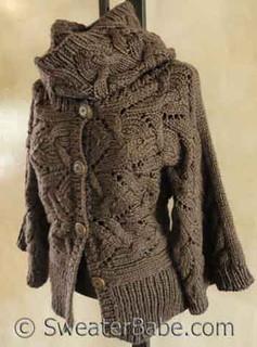 photo of #128 Kimono Sleeve Sideways Cardigan & Cowl Set PDF Knitting Pattern