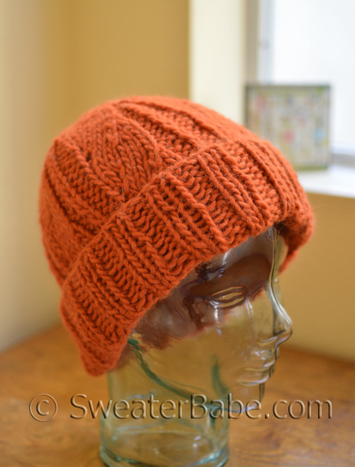 One Skein Chunky Cuffed Knit Hat Knitting Pattern from SweaterBabe.com 39c6e73d92e