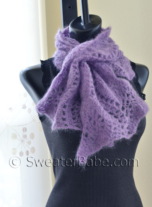 Wavy Edged Crochet Lace Scarf Pattern in Mohair from SweaterBabe.com