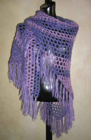 Easy Crochet Shawl Pattern Using A Mohair Wool Blend Yarn From