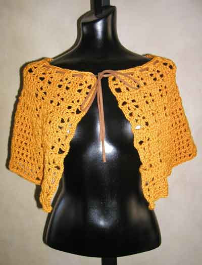 Lace Crochet Capelet With Suede Tie Pattern From Sweaterbabe