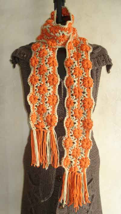 Flower Stripe Crochet Scarf Pattern From Sweaterbabe