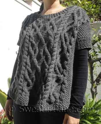 b700c7dd6 Knitting Pattern for Cabled Poncho Sweater Vest from SweaterBabe.com