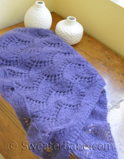 photo of #152 Violet Zig Zag Lace Shawl knitting pattern, but worked on size 10 needles using a mohair blend