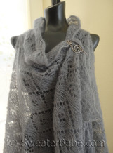 knitting pattern photo for #170 Judith Shawl Vest - pinned with shawl pin