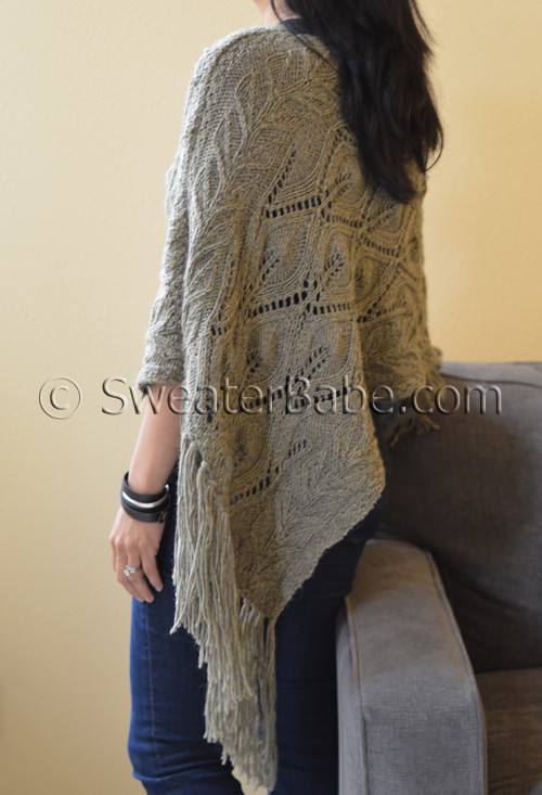PDF Knitting Pattern for Off-Kilter Lace Poncho from SweaterBabe.com