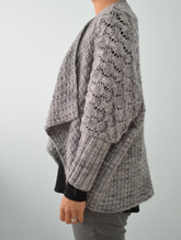 #205 Two-Way Wrap Cardigan knitting pattern worn right-side up