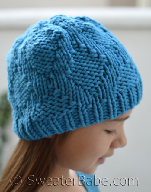 a433f695145 PDF Knitting Pattern for Easy Lattice Hat from SweaterBabe.com