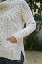 evelyn cowl neck sweater knitting pattern