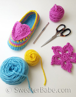 heart and sole crochet slippers pdf crochet pattern - shown in size S