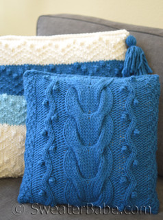 bob and weave cabled pillow cover knitting pattern