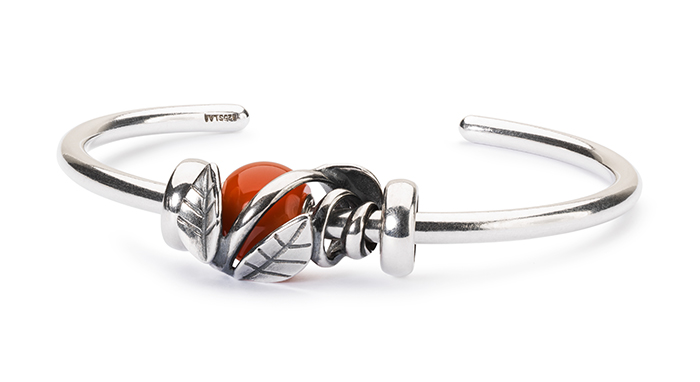 Trollbeads Silver Bangle with Round Red Onyx