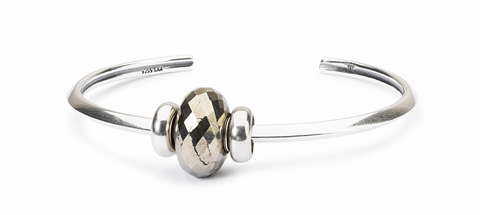 Trollbeads Silver Bangle with Pyrite