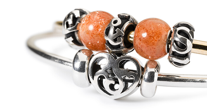 Trollbeads Stacked Bangles with Round Sunstone Beads